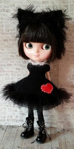 "Lucky Black Kitty dress and headband for 12"" Blythe"