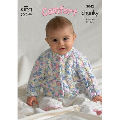 Jacket, Cardigan and Slipover in King Cole Comfort Chunky - 3042