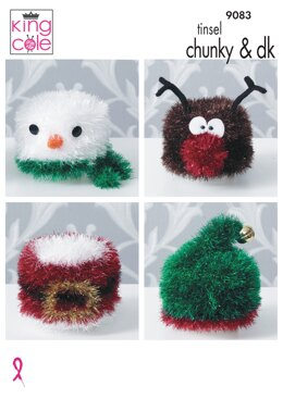 Knitted Christmas Toilet Roll Covers in King Cole Tinsel Chunky & Dollymix DK - 9083