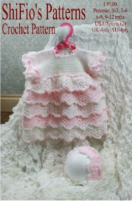 Crochet Pattern baby dress & hat UK & USA Terms #100