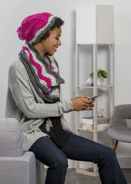 Stripe Hat & Cowl in Premier Yarns Everyday Bulky - Downloadable PDF
