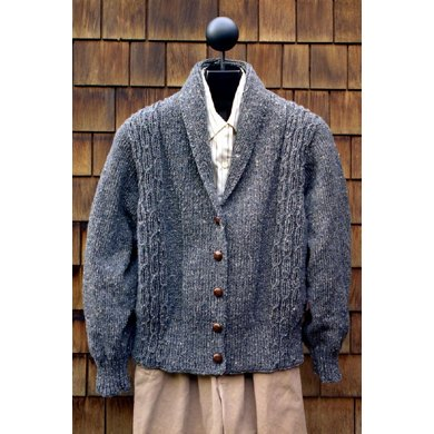 MS 126 Worsted Weight Shawl Collar Sweater