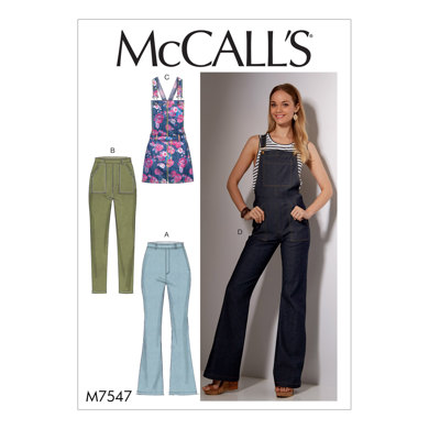 McCall's Misses' Flared Jeans and Overalls, Skinny Jeans, and Shortalls M7547 - Sewing Pattern