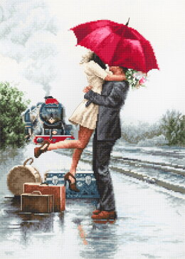 Luca-S Couple on the Station Counted Cross Stitch Kit - 22cm x 31cm