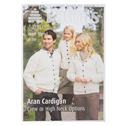 Crew or High Neck Family Aran Cardigans in Patons Wool Blend Aran in Patons - 3881