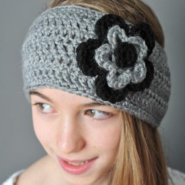 Headband style earwarmer with layered flowers (two sizes)