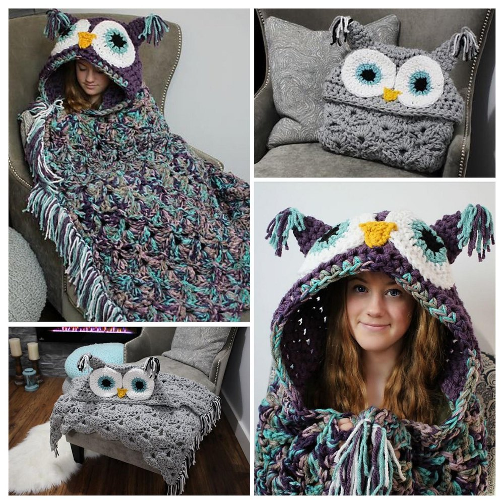 Bulky Quick Hooded Owl Blanket Crochet Pattern By Mjsoffthehook