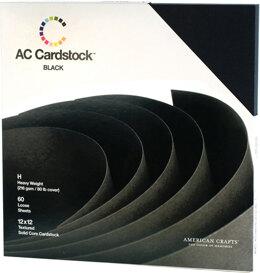 "American Crafts Textured Cardstock Pack 12""X12"" 60/Pkg - Solid Black"