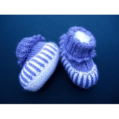 Purple Striped Baby Booties