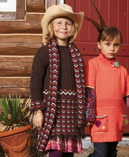 Girl's Dress and Scarf with Chevrons and Cables in Schachenmayr Universa - S6904AB - Downloadable PDF