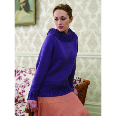 """Bobble Rib Jumper"" : Jumper Knitting Pattern for Women in Debbie Bliss DK 