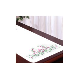 Tobin Stamped For Embroidery White Dresser Scarf - Meadow Flowers