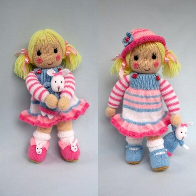 Betsy and her Bunny - Doll knitting pattern