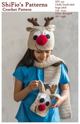 Crochet pattern Reindeer Hat & Scarf UK & USA terms  #379