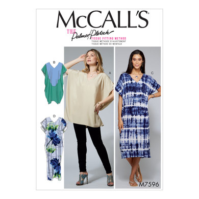 McCall's Misses' Loose-Fitting V-Neck Pullover Tunic and Dresses with Shoulder and Length Variations M7596 - Sewing Pattern