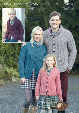 Cardigans in Hayfield Bonus Aran with Wool - 7143 - Downloadable PDF