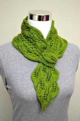 Leaves & Mock Cables Scarf ( Keyhole / Ascot / Pull-Through / Vintage / Stay On Scarf Knitting Pattern )