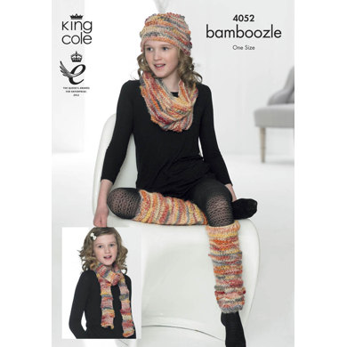 Waistcoat, Hat, Scarf,Legwarmer and Snood in King Cole Bamboozle - 4052