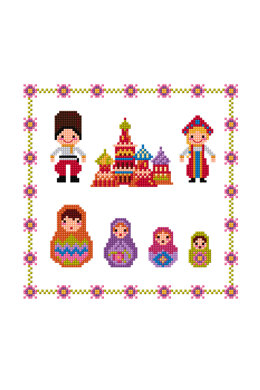 Russian Dolls in DMC - PAT0145 - Downloadable PDF