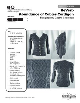 Abundance of Cables Cardigan in Cascade Yarns ReVerb - DK661 - Downloadable PDF