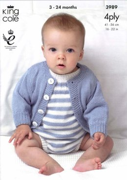 Cardigans and Romper Suits in King Cole Bamboo Cotton 4 Ply - 3989