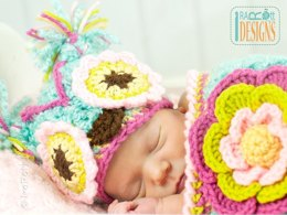 Chunky Flower Owl Hat and Cocoon