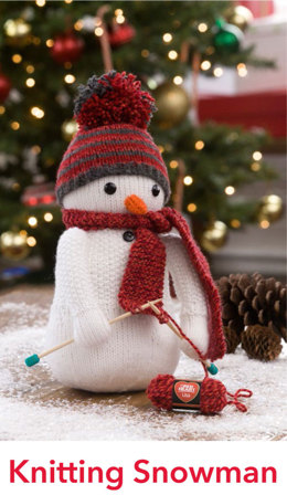 Knitting Snowman in Red Heart Lisa - LW4815EN