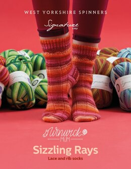 Sizzling Rays Socks in West Yorkshire Spinners Signature 4Ply - DBP0144 - Downloadable PDF