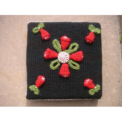 Red Tulips Pillow with Beaded Button