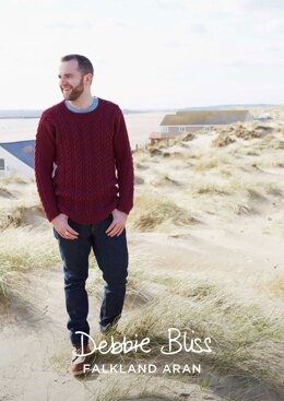 """Kaey Jumper"" - Jumper Knitting Pattern For Men in Debbie Bliss Falkland Aran - DBS037"