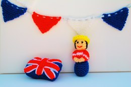 A Miniature Queen Doll, Bunting & Union Jack Pin Cushion -  Doll Knitting Pattern