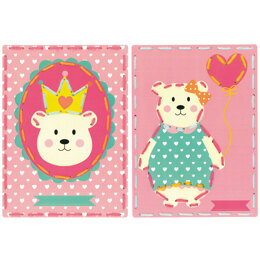 Vervaco Embroidery Kit: Cards: Bear Crown and Balloon - 18.5 x 26cm