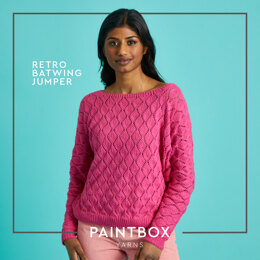 Retro Batwing Jumper - Free Sweater Knitting Pattern For Women in Paintbox Yarns Cotton 4 Ply by Paintbox Yarns