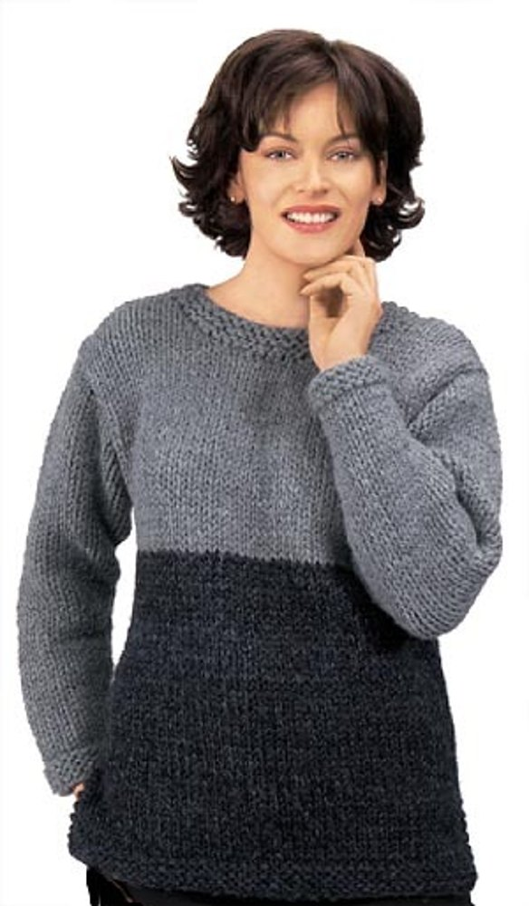 Knitted Two Tone Tunic In Lion Brand Wool Ease Thick Amp Quick 1100 Knitting Patterns