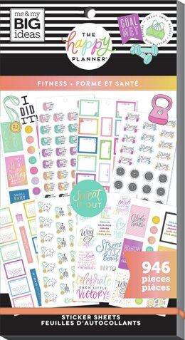 Me & My Big Ideas Happy Planner Sticker Value Pack - Fitness Workout, 946/Pkg