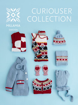 """ Curiouser Collection E-Book "" - Collection of Knitting Patterns For Girls in MillaMia Naturally Soft Merino by MillaMia"