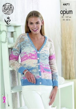 Cardigan and Hoodie in King Cole Opium Opium Pallette & Bamboo Cotton DK - 4471 - Leaflet