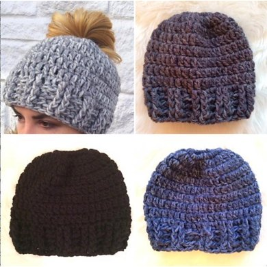 messy bun hat crochet pattern by creative designs by sheila. Black Bedroom Furniture Sets. Home Design Ideas