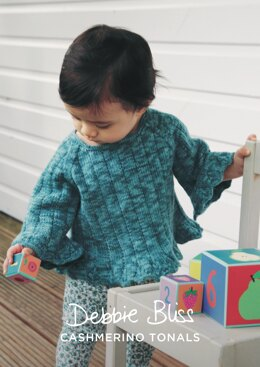"""Layla Sweater"" - Sweater Knitting Pattern For Girls in Debbie Bliss Baby Cashmerino Tonals - DBS082"