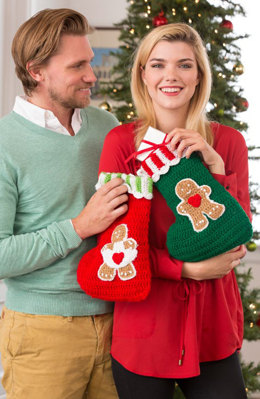 Gingerbread Stockings in Red Heart Holiday and Super Saver Economy Solids - LW4862 - Downloadable PDF