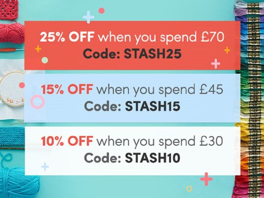SAVE 25 percent on orders over £70. Includes sale! Code: STASH25