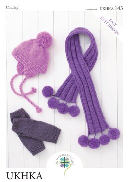 Helmet, Wristwarmers and Scarf in King Cole Chunky - UKHKA143pdf - Downloadable PDF