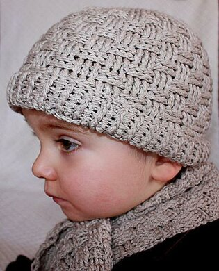 Basketweave Boy Hat and sca...