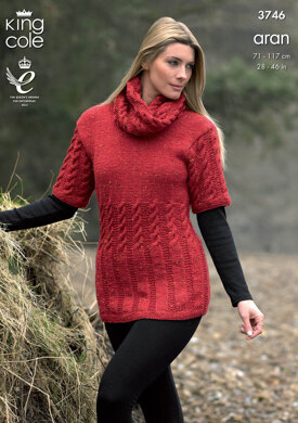 Tunic, Cardigan and Snood in King Cole Fashion Aran - 3746