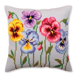 Collection D'Art Pansies Cushion Cross Stitch Kit - 40cm x 40cm
