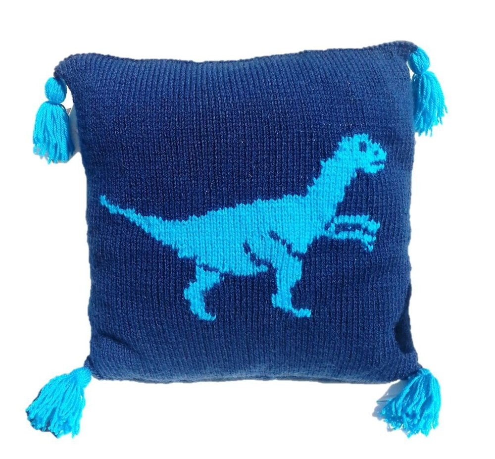 Mohair Cushion Knitting Pattern : Dinosaur Cushion Knitting pattern by iKnitDesigns