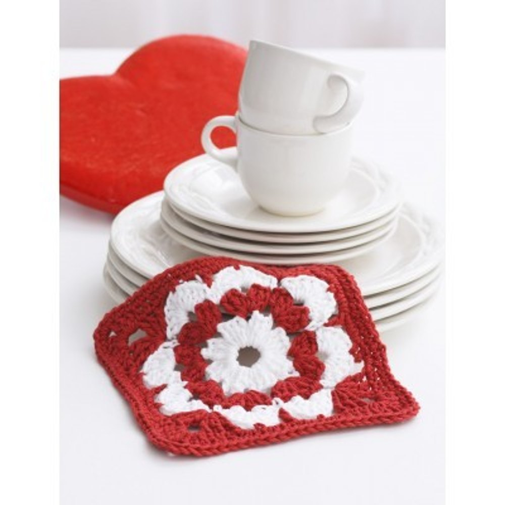 Valentine Dishcloth In Lily Sugar And Cream Solids Crochet Patterns