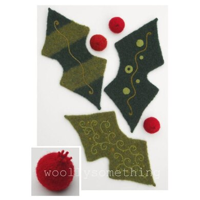 Felted Woolly Holly Leaf & Berries