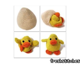 Amigurumi Russ the Chick in an egg