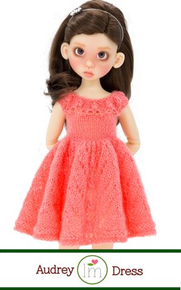 Audrey Dress for 17 inch bjd dolls by Kaye Wiggs. Doll Clothes Knitting Pattern.